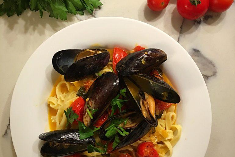 White Wine Cream Saffron Mussels over Fettuccine (GF, Paleo, & Dairy Free)
